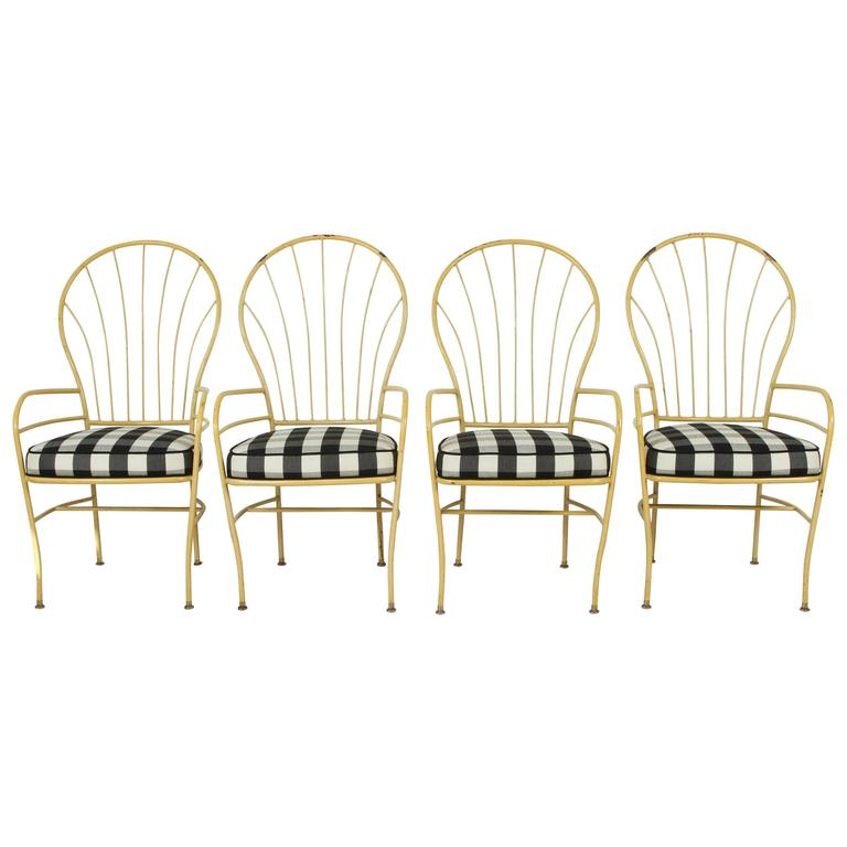 Set of Four Yellow Metal Outdoor Chairs in Black and White Check Fabric For Sale