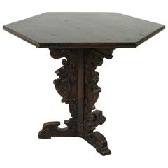Spanish Pedestal Hexagonal Table with Ornate Details