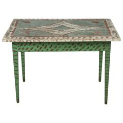 Green and Red Painted Folk Art Table