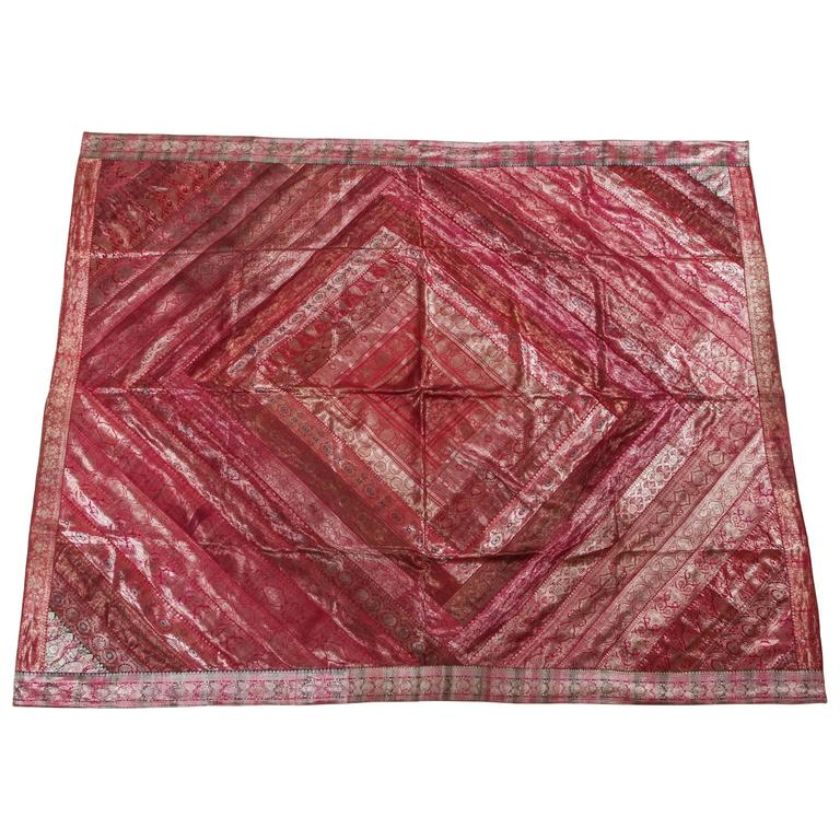 Indian Silk Sari Tapestry Quilt Patchwork Bedcover Fuchsia Color