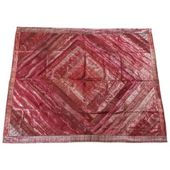 Moorish Silk Sari Tapestry Quilt Patchwork Bedcover Fuchsia Color