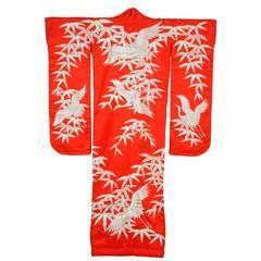 Vintage Red Silk Brocade Japanese Ceremonial Kimono
