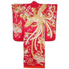Vintage Fushia Silk Brocade Japanese Ceremonial Kimono