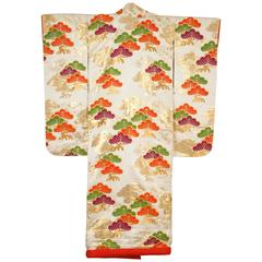 Vintage Silk Brocade Japanese Ceremonial Kimono