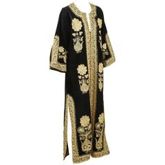Moroccan Caftan, Black Kaftan Embroidered with Gold