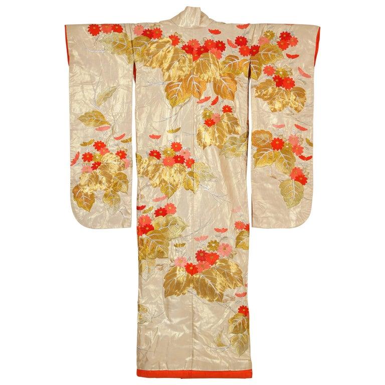 Vintage Brocade Japanese Ceremonial Kimono For Sale