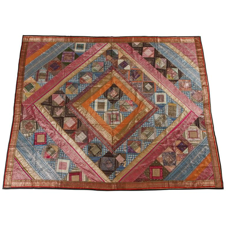Indian Silk Sari Tapestry Quilt Patchwork Bedcover For Sale