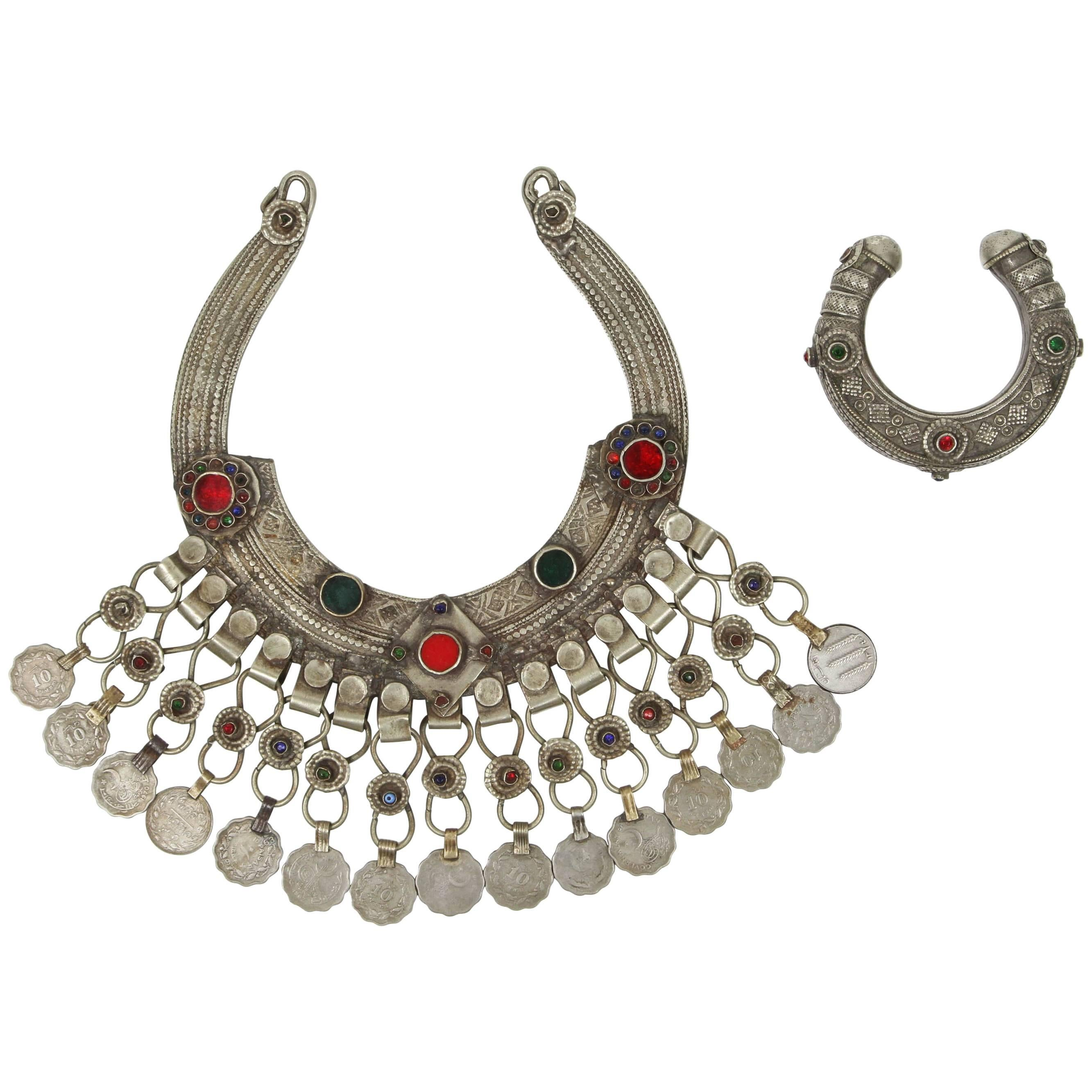 Moroccan Tribal Silver Jewelry Set Choker and Bracelet