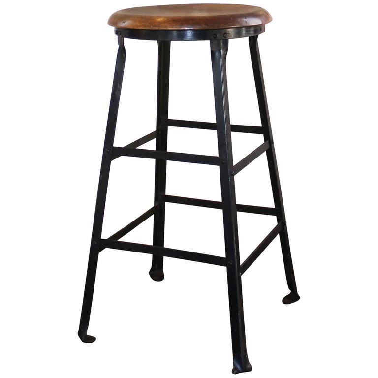 vintage industrial rustic wood and metal machine shop factory bar stool at 1stdibs. Black Bedroom Furniture Sets. Home Design Ideas