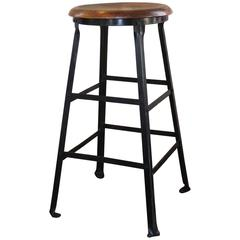 Vintage Industrial Rustic Wood and Metal Machine Shop Factory Bar Stool