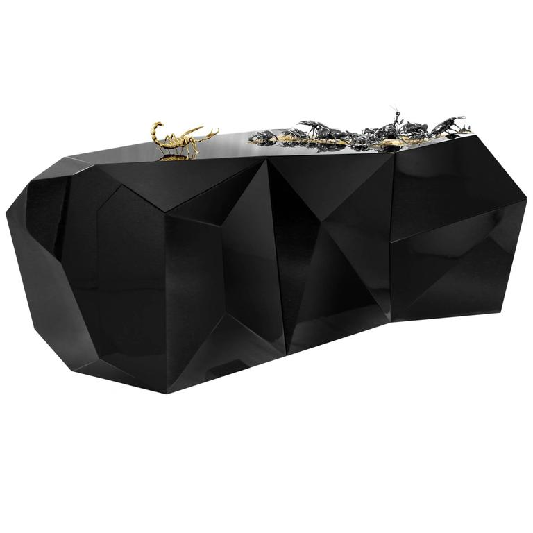 Scorpio Sideboard in Wood Carving Lacquered in Black with Golded Details For Sale