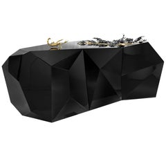 Scorpio Sideboard in Wood Carving Lacquered in Black with Golded Details