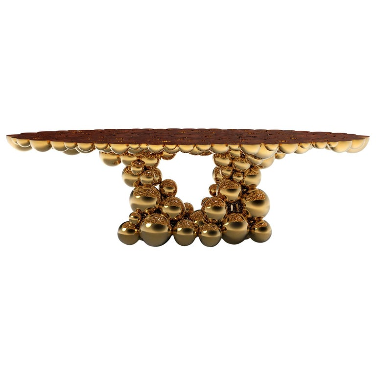 Spheres Golded Dining Table with Aluminium Gold Sphere For Sale