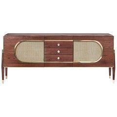 Walnut Straw Sideboard Rare Wood and Golden Brass Details