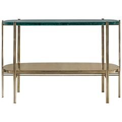 Green Marble Console with Polished Brass Structure