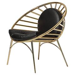 Cosmo Chair with Tubular Brass Structure and Leather Cushions