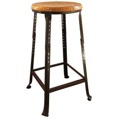 Shop Bar Stool, Vintage Industrial Backless Wood and Metal