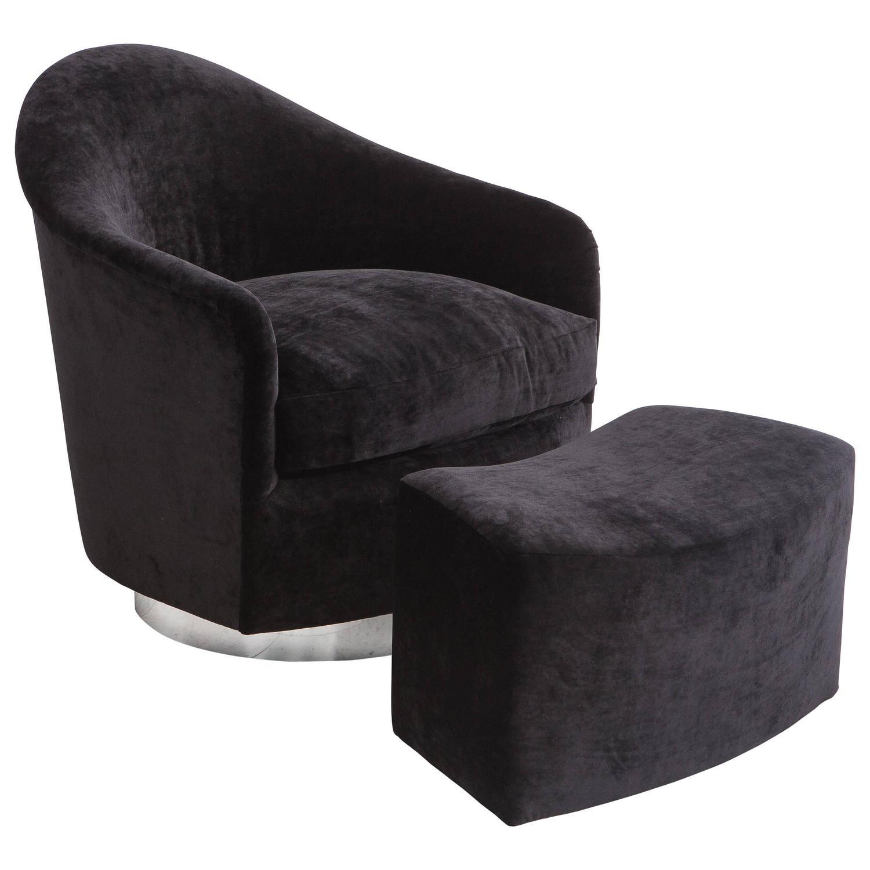 Milo Baughman Black Velvet Swivel Chair And Ottoman Usa
