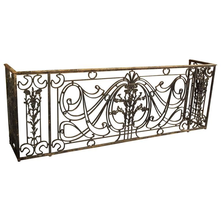 Antique forged and cast iron french balcony gate console for Balcony console