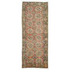 Vintage Mid-20th Century Hand-Knotted Short Runner Rug