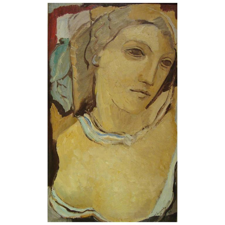 Portrait of a Woman with Bust, 1932 by Maria Lagorio For Sale