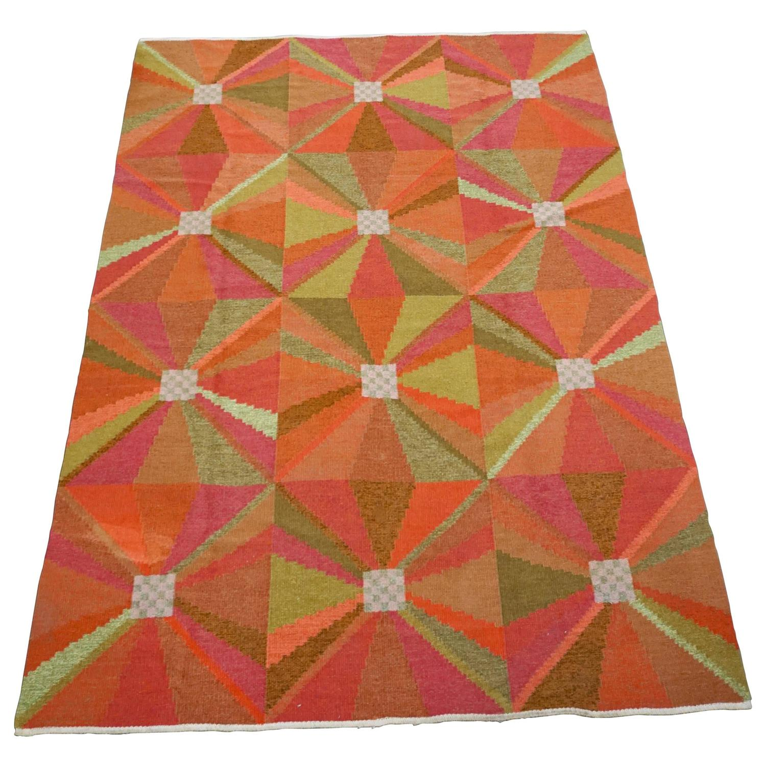Colorful scandinavian rug for sale at 1stdibs for Colorful rugs for sale