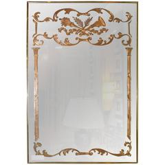 Louis XVI Style Etched Glass Hollywood Regency Fashioned Wall Mirror