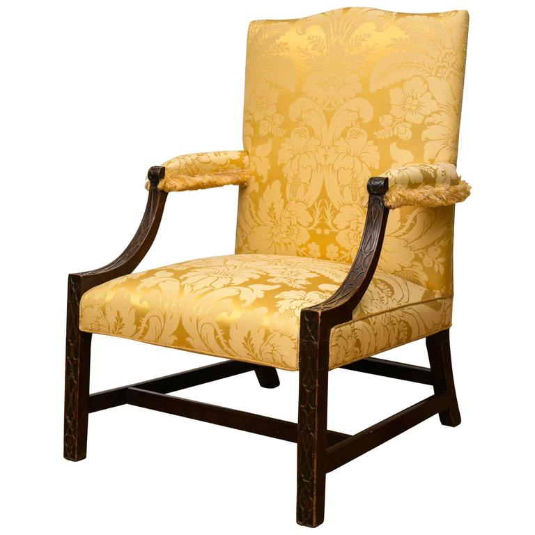 Georgian Mahogany Gainsborough Library Armchair For Sale