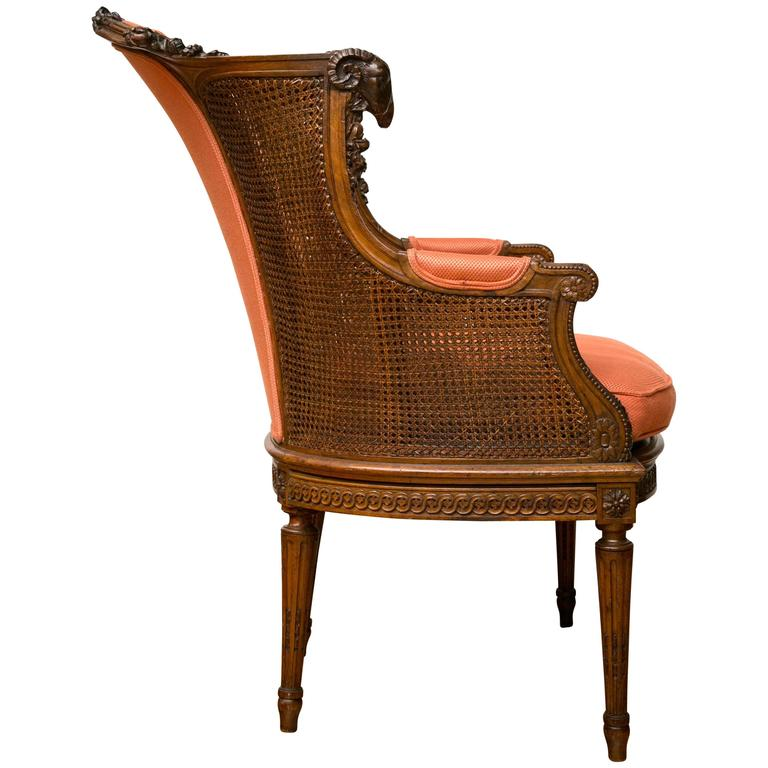 A Late Victorian Caned Mahogany Library Chair  For Sale