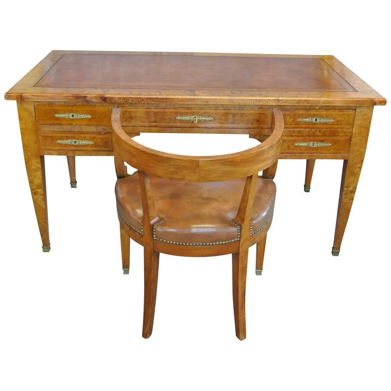 19th Century Empire Desk with En Suite Desk Chair
