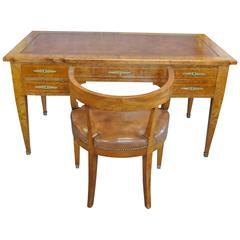 19th Century Empire Desk with En Suite Desk Chair