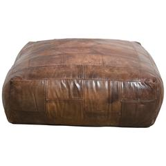 Mid-Century Patchwork Ottoman in Leather from De Sede, 1976
