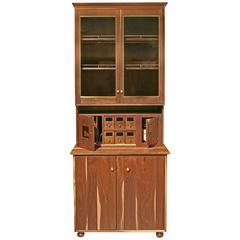 Shimna Tall China Cabinet or Pantry in Walnut and Brass with Hollander Glass