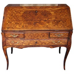 French Marquetry Slant Top Ladies Writing Desk, Circa 1780