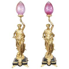 Pair of French Ormolu Gregoire Classic Figurine Lamps Lights Torcheres
