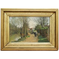 "19th Century French School Painting ""At The River Side"" Signed"