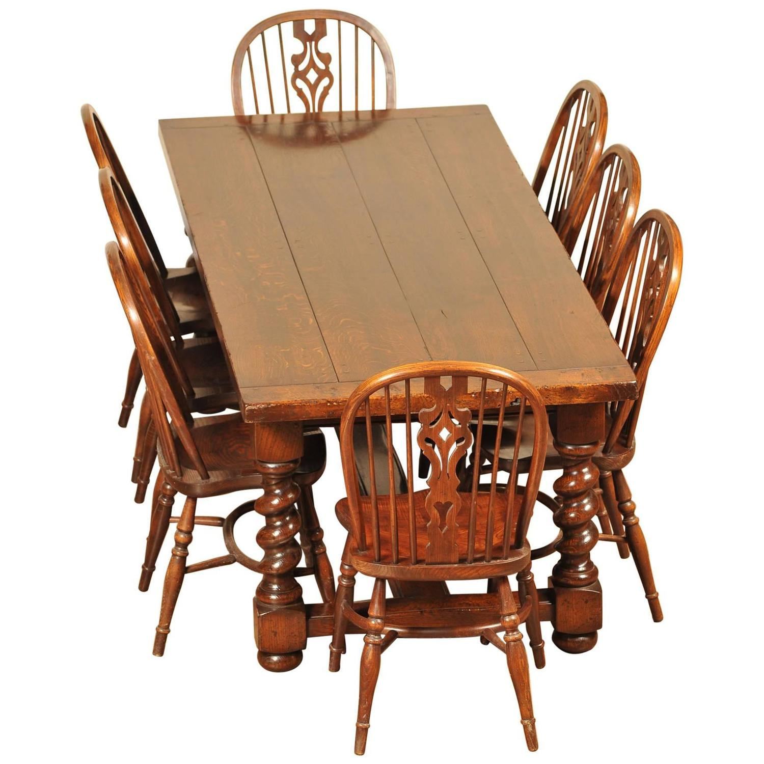 Kitchen Dining Set Refectory Table Windsor Chairs For Sale