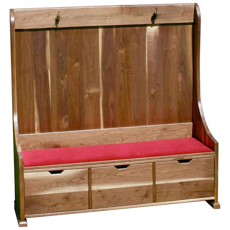 Shimna Walnut Deacons Bench with Red Velvet Upholstery & Three Storage Drawers