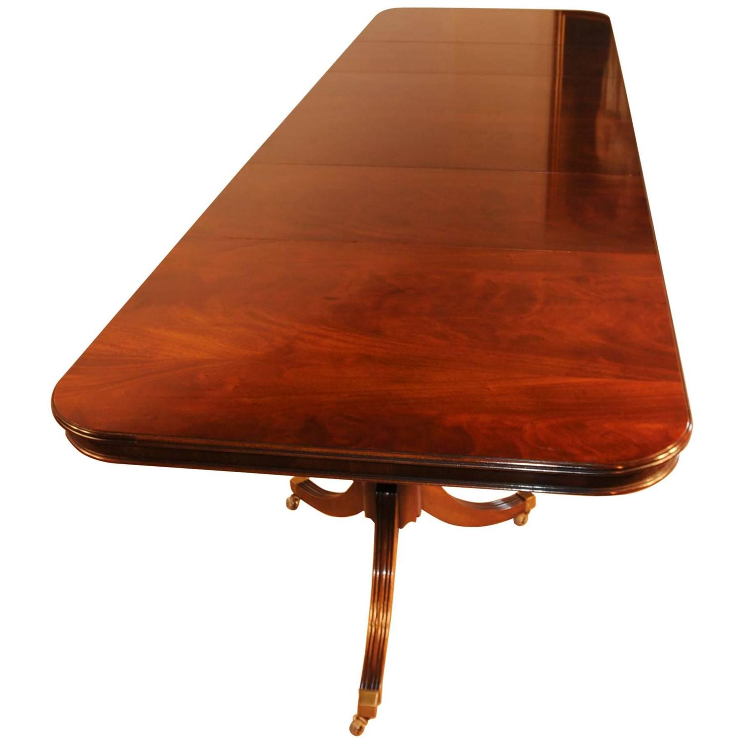 Mahogany regency pedestal dining table diner furniture for Extra long dining room tables sale