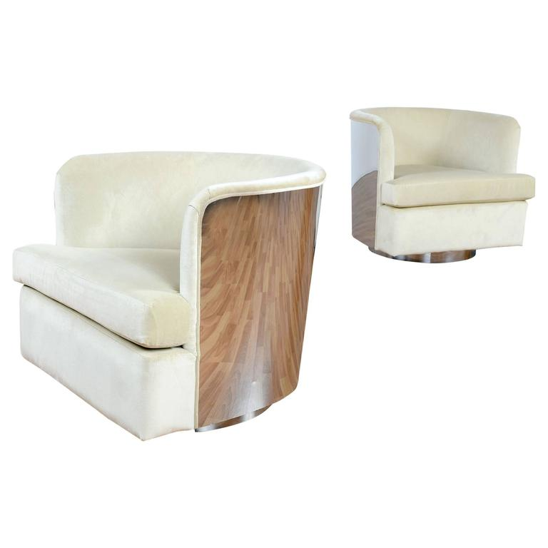 milo baughman cream and chrome swivel barrel chairs at 1stdibs
