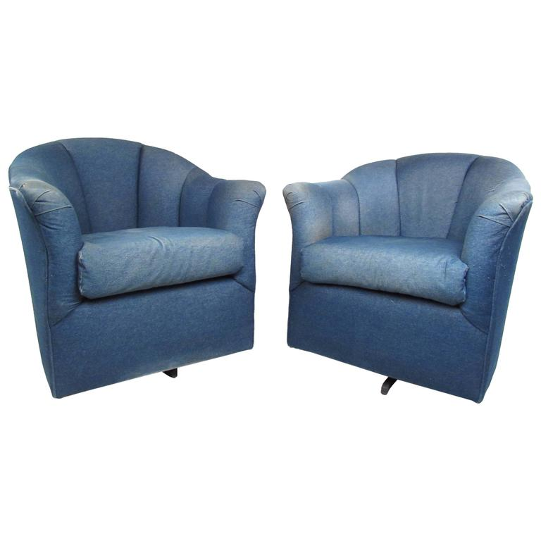 Pair of Mid-Century Style Swivel Denim Lounge Chairs For Sale