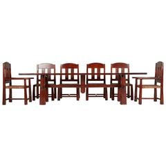 Monumental Argentinian Algarrobo Wood Trestle Table and Ten Chairs