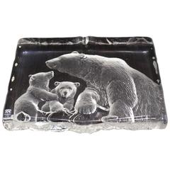 Swedish Carved Crystal Slab Sculpture of Polar Bears