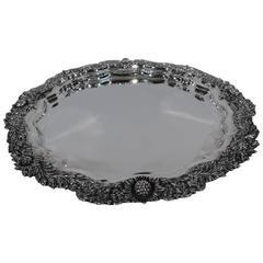Magnificent Antique Tiffany Chrysanthemum Sterling Silver Tray