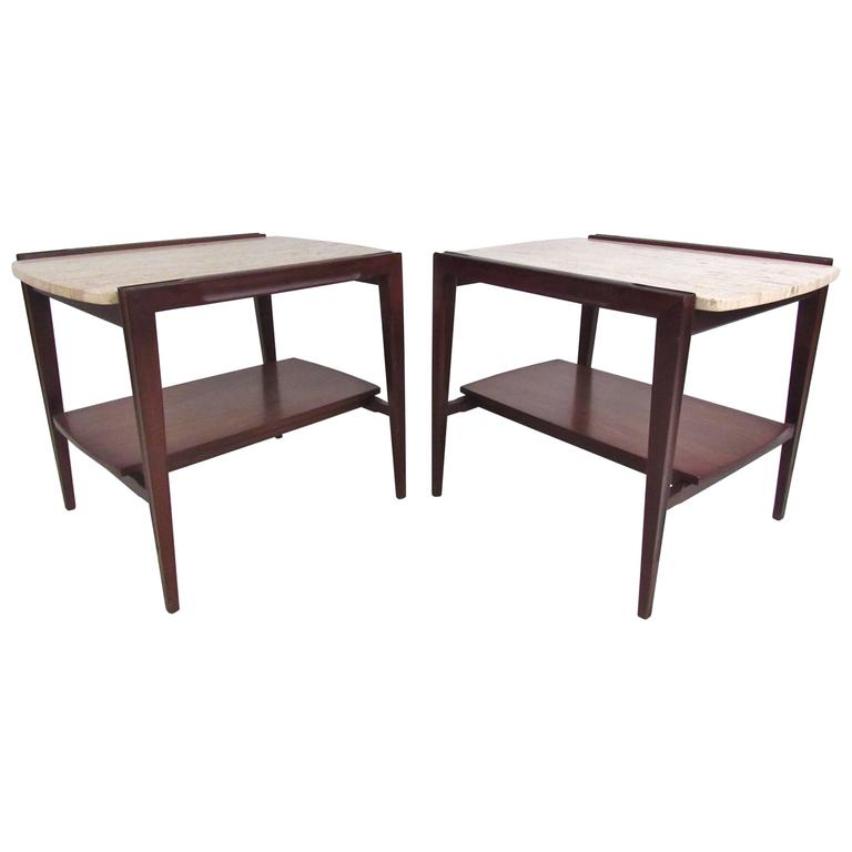 Pair of Mid-Century Modern Marble-Top End Tables For Sale
