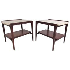 Pair of Mid-Century Modern Marble-Top End Tables