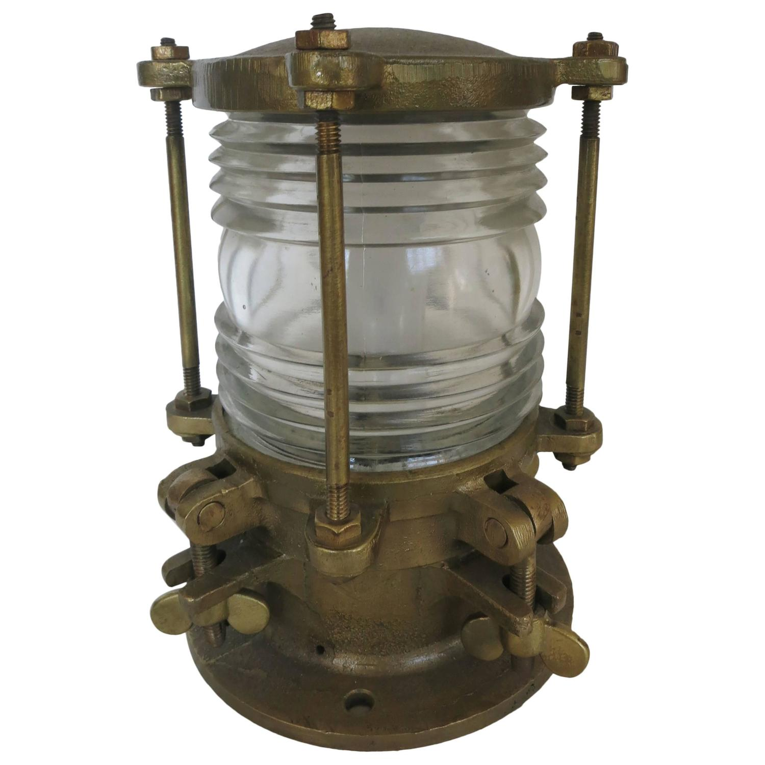 Bronze Piling Nautical Dock Light With Fresnel Lens For Sale At 1stdibs