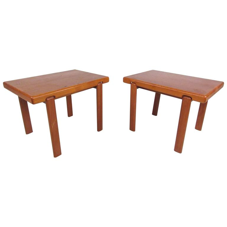 Pair Of Danish Modern Solid Teak End Tables By Trioh Mobler For