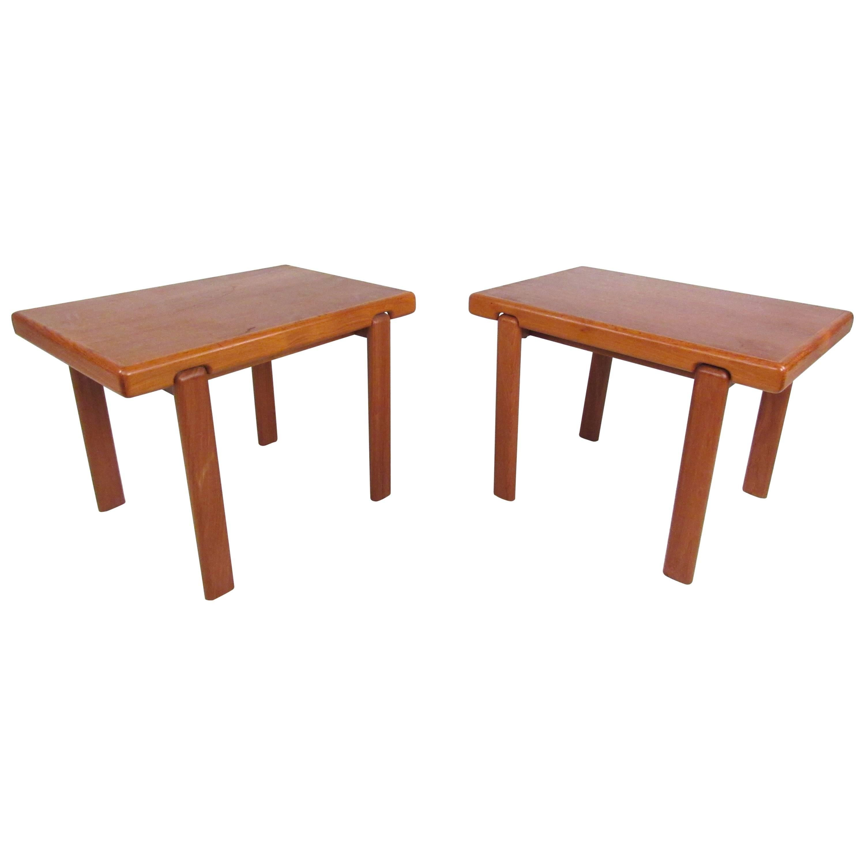 Pair of Danish Modern Solid Teak End Tables by Trioh Mobler