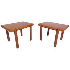 Pair of Danish Modern Solid Teak End Tables by Trioh Mobler